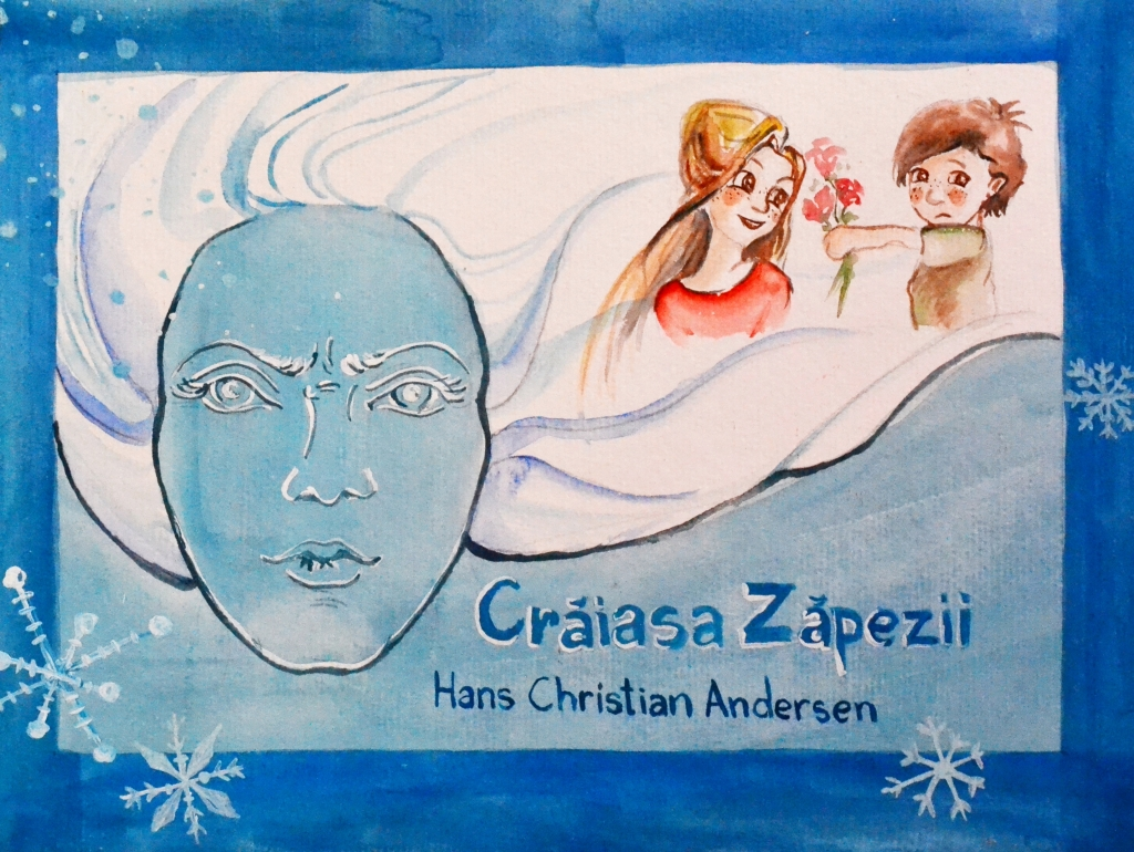 Craiasa zapezii, Snow Queen,Hans Christian Andersen, acuarela, desen, peisaj, book illustration, illustration, marra, maricica radovici, ilustratie, acuarela, watercolor,